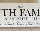 Established Date, Personalized Family Name Sign Plaque Painted Linen (off white) 7x22, Customized Wedding / Anniversary / Housewarming Gifts