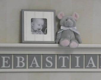Gray Nursery Wall Decor Baby Boy Wall Art Personalized (White or Off White) Shelf - Wood Wall Letters Plaques