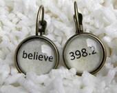 Word Earrings,  Believe Earrings, Literary Earrings, BELIEVE 398.2,   Literary gifts, Book Earrings, Library Earrings,  Fairytale jewelry
