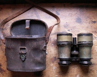 Vintage French Field Glasses in Leather Case - Marchand, Paris