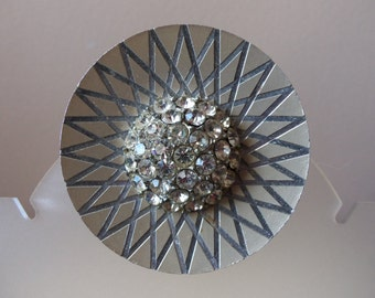 Vintage Brooch - Made in Germany - Laser Cut Design - High Dome of Rhinestones in Center - Collectible - Gift Idea