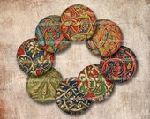 Medieval Circles One 1 Inch Rounds Scrolls Illuminations for Jewelry Magnets Buttons Inchies and Decoupage Papers 534
