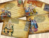 Indian Postcards Fantasy Digital Collage Sheet Elephant Gods Elephants Antique Asian Postage Stamps Shabby Chic Backgrounds Decoupage 568
