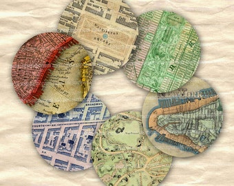 New York Street Maps Antique Circles for DIY NY Jewelry Magnets Buttons Pendants Shabby Chic NYC Digital Collage Sheet Download 578