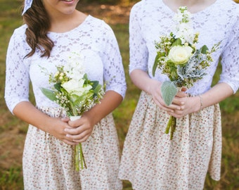 Bridesmaids lace and cotton dress
