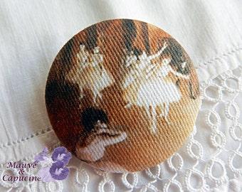 Fabric button, printed  Degas