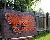 Montana Nail String Art IV - Bozeman / Big Sky, Montana - Custom colors!