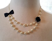 Bridesmaids Jewelry Black Ivory flower Necklace Bow Necklace Pearls necklace Wedding jewelry Floral Jewelry Bridal Gift