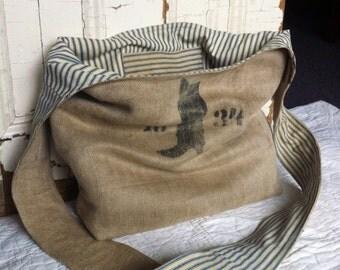 1934 - reconstructed vintage linen grain sack sling bag