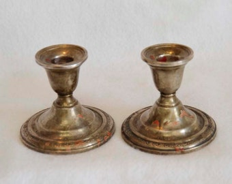 Vintage Pair Of International Courtship STERLING SILVER CANDLESTICKS Candle Holders.. Weighted 585 Grams