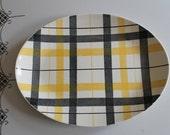 Vintage Homer Laughlin Dura Print Yellow & Black Checkered Plaid Oval Platter