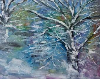 Landscape Painting Snow - Original painting