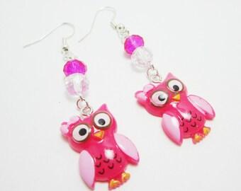Pink Owl Earrings Sweet Acrylic Owls Crystal Rondelles