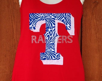 Texas Rangers Zebra And Bling Tank Top