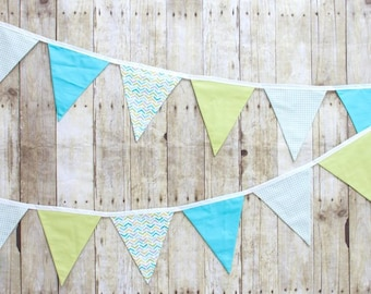 Seabreeze Green Aqua  - Decor - Party Decoration - Photo Prop -  Fabric Flag Bunting