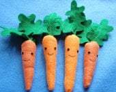 Fleece Carrot Organic Catnip Toy For Pet Cat Set of Four