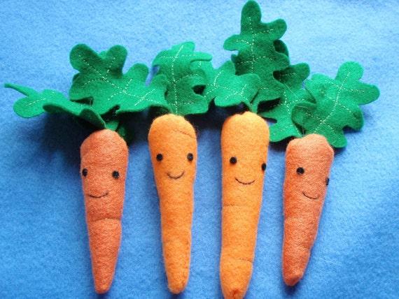 Fleece Carrot Organic Catnip Toy For Pet Cat Set of Four