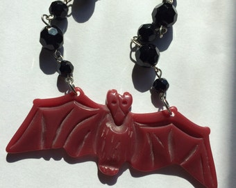 Red and Black Retrolite Bat Necklace