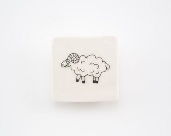 Ceramic Badge with Sheep - Porcelain Jewelry - Ceramic Jewellery
