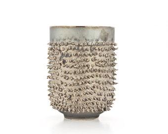 Dark Metallic Ceramic Mug, Ceramic Tumbler for Tea or Coffee, Tea or Coffee Mug with Spikes, Quirky gift, Spiky Mug