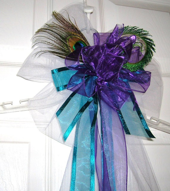 Teal Wedding Ideas For Reception: Peacock Wedding Purple And Teal Pew Bow Reception Decoration