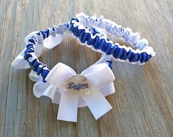 Los Angeles Dodgers Inspired Bridal Garter Royal Blue & White Baseball Inspired Satin Wedding Keepsake Or Garter Set