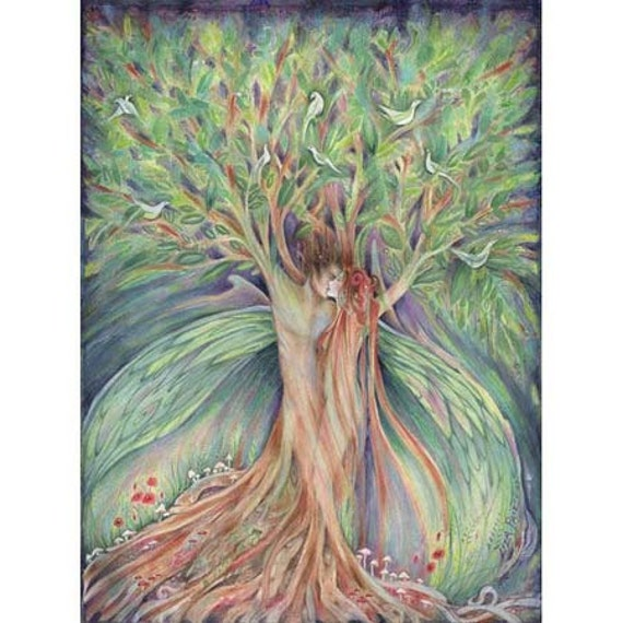 Tree Lovers Original Painting of Lovers in a tree in watercolor
