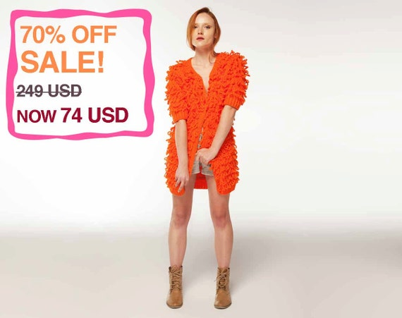 70% OFF! Orange Frilly Jacket: Provocateur. Handmade, Winter Collection