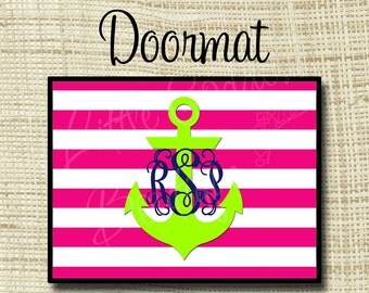 Custom Personalized Doormat, 18x24 24x36 or 36x60 Floor mat Stripes Anchor Any Color(s)