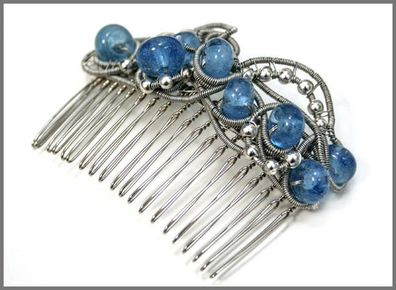 RESERVED - Hair comb - wrapped wire and blue glass beads - Wedding-Bridal-hair ornament