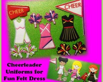 In The Hoop Cheerleader Uniform Embroidery Machine Design Set for Dress Up Fun Dolls