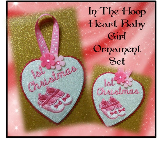 Baptism Heart Ornament: In The Hoop Heart Baby Girl Ornament By NewfoundApplique