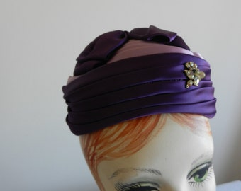 Lilac and Purple Satin Turban-like Hat with Rhinestones