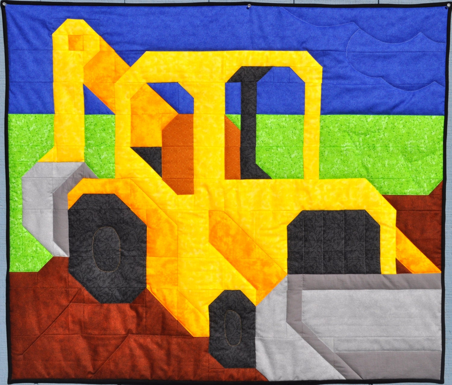 Baby Boy Quilt Pattern Backhoe In Wall Crib And Lap Sizes