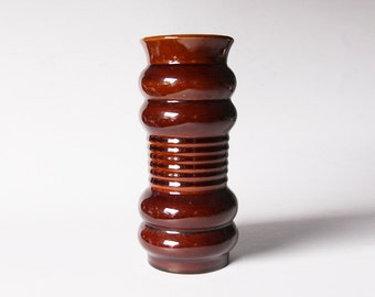 Modernist West German Brown Glossy Vase  - Klein 70s