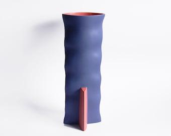 Modernist RARE XL Dark Blue Cor Unum Vase - Dutch Pottery c.80s
