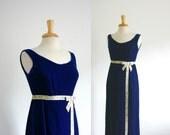 1960s blue velvet bow front  maxi dress, size small