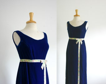 1960s blue velvet bow front  maxi dress, size small