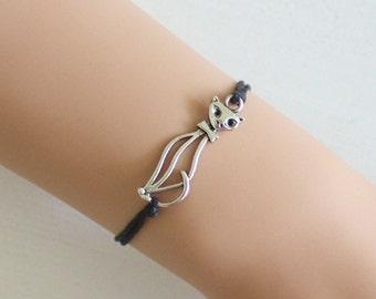 Cat Bracelet or Anklet In Antique Silver, Silhouette, Feline Bracelet, Cat Lover Gift, Cat Jewelry, Kitty Cat, Kitten Bracelet, BFF, Friend