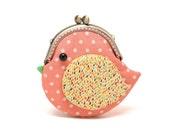 Cute coral pink bird clutch purse