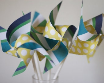 Wedding favor Birthday favor Yellow Green and Navy Blue -12 Mini Pinwheels (Custom orders welcomed)