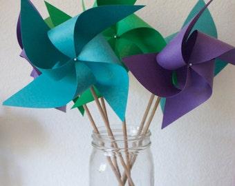 Jewel Colored Pinwheels Wedding favor Birthday favor Peacock Decorations 6 Large Pinwheels (Custom orders welcomed)