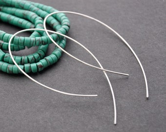 """Silver Open Hoop Earrings, Silver Threader, Edgy Ear Thread, Silver Hook Earrings, 1 1/2"""", 2"""", 3"""""""