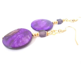 Purple Mother of Pearl Shell Beaded Earrings, Royal Purple Vintage Glass Jewelry, Handcrafted Plum and Gold Dangle Bead Earrings