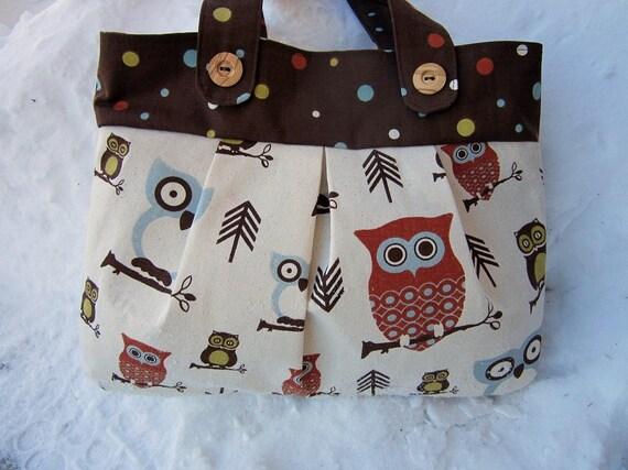 Owl purse, owl handbag, owl totebag