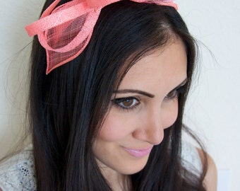 Mini Coral Fascinator - Flitter-by Mesh Coral Fascinator Headband