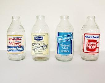 Vintage 1980's Advertising Milk Bottles - Weetabix - Kitkat - Blue Ribbon