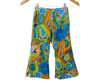 Gender Neutral Kid's Toddler Bellbottom Flare Pants Handmade from 60s Vintage Fabric Neon Green and Blue Floral Paisley Print Size 2T