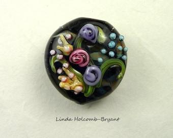 Flower Lampwork Glass Focal Bead
