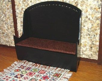 Cushioned Settle, Bench, Dollhouse Miniature 1/12 Scale, Hand Made in the USA